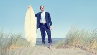 surfing in a business suit